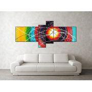 Super quadro painel decorativo abstrato com 4 peças multicolorido