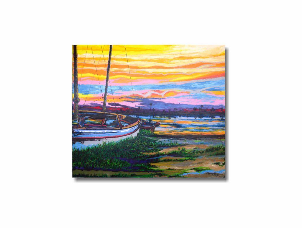 Bonito quadro de paisagem pintado a mão 79 x 91 cm