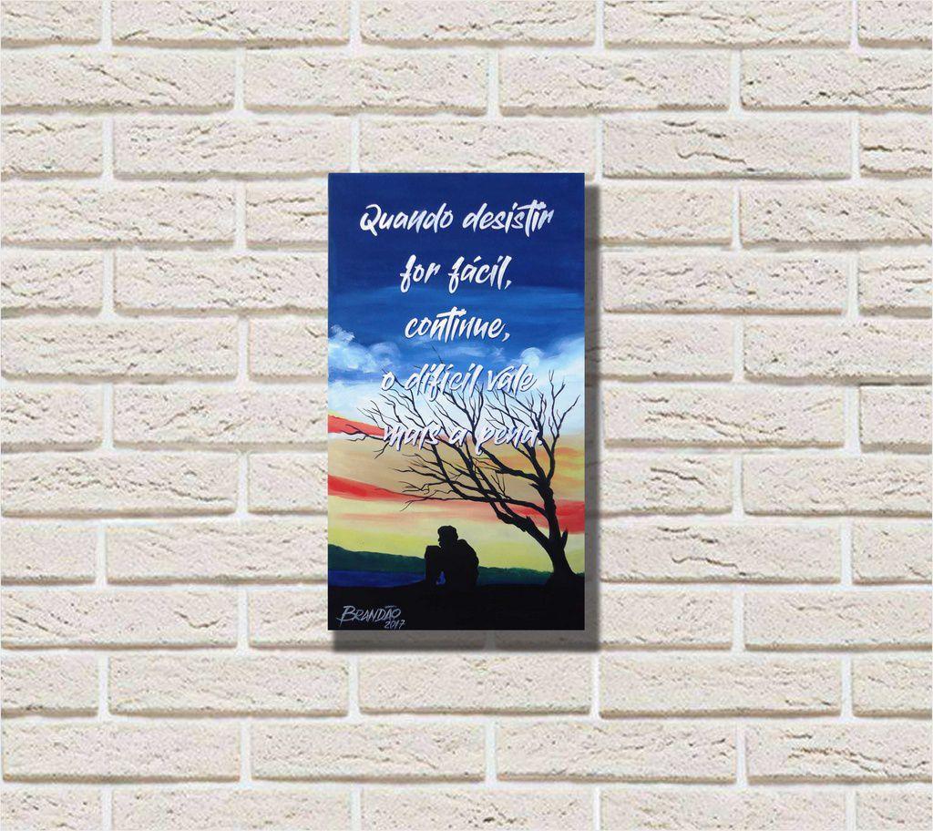 Bonito quadro decorativo com fase motivacional para parede