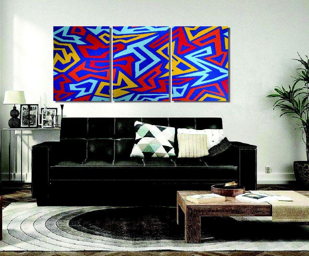Lindo painel abstrato para expor em sala pintado a mão
