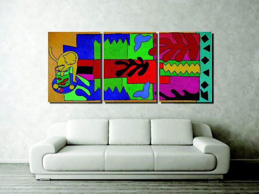 Lindo painel com releitura de quadros de matisse para sala pintado a mão