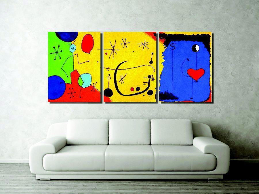 Lindo painel com releitura de quadros de Miró para sala pintado a mão