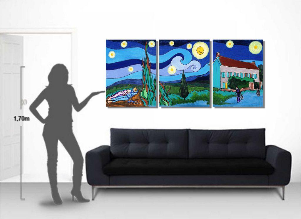 Lindo painel com releitura de quadros de Van Gogh para sala pintado a mão