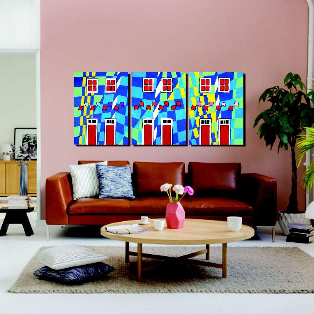 Lindo painel com releitura de quadros de Volpi para sala pintado a mão