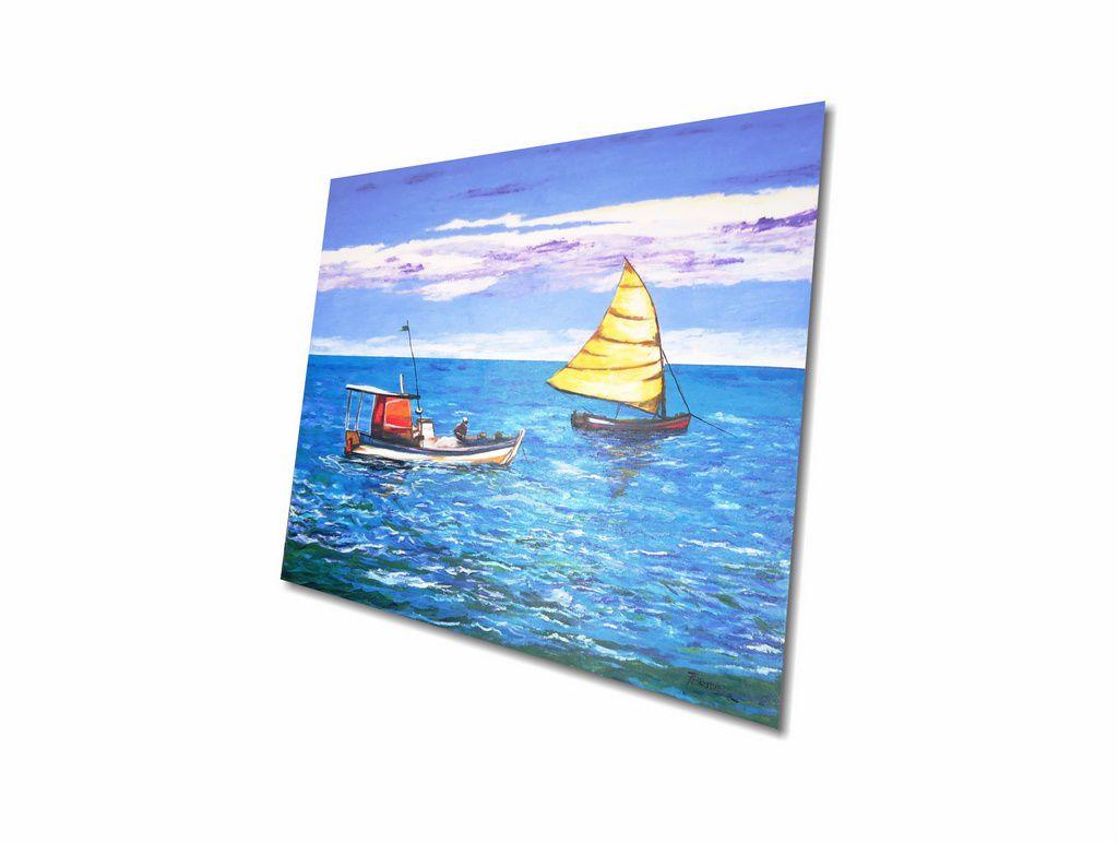Lindo Quadro De Barcos Para Parede Pintado A Mão