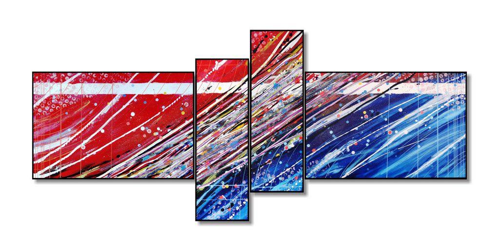 Lindo quadro painel decorativo abstrato com 4 peças em azul  e vermelho