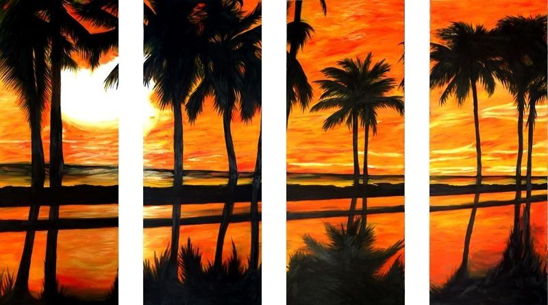 Painel em óleo - Palmeiras ao por do sol -  90 x 140 cm