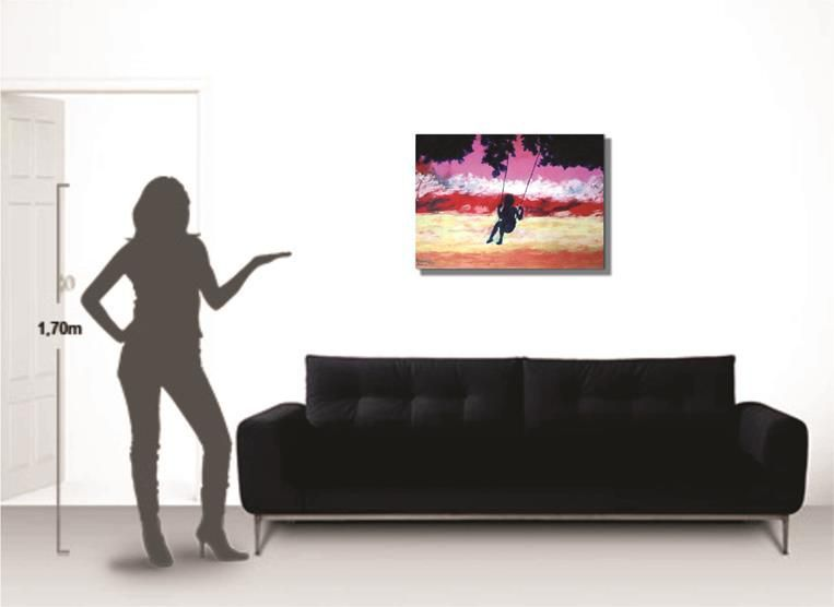 Pintura manual decorativa em óleo - Balanço - 61 x 85 cm
