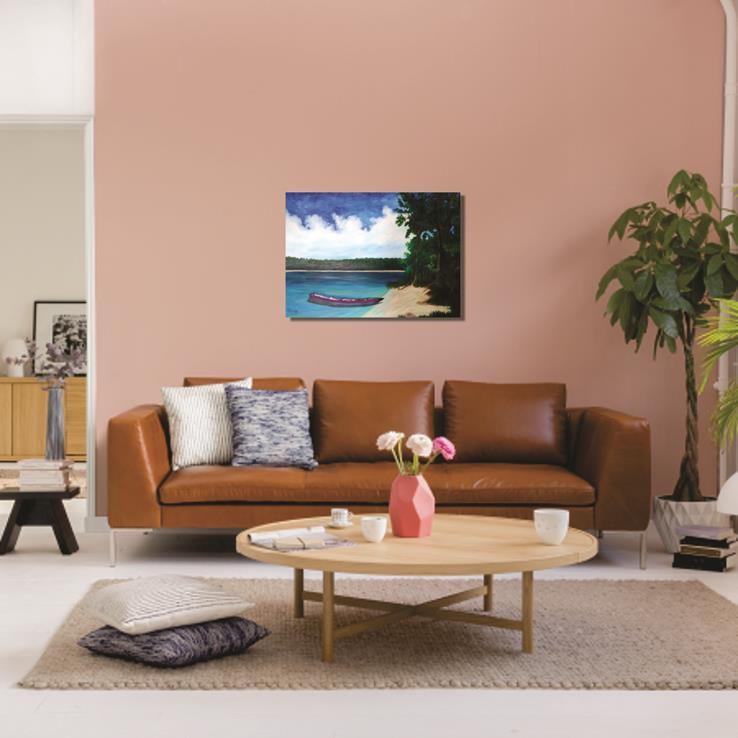 Pintura decorativa em óleo - Barquinho na margem - 61 x 85 cm