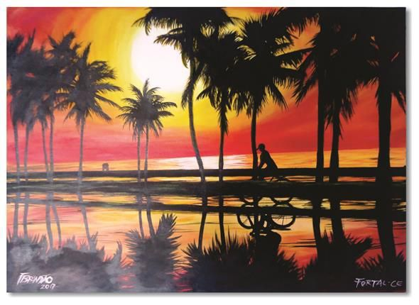 Pintura decorativa em óleo - Bicicletar 61 x 85 cm