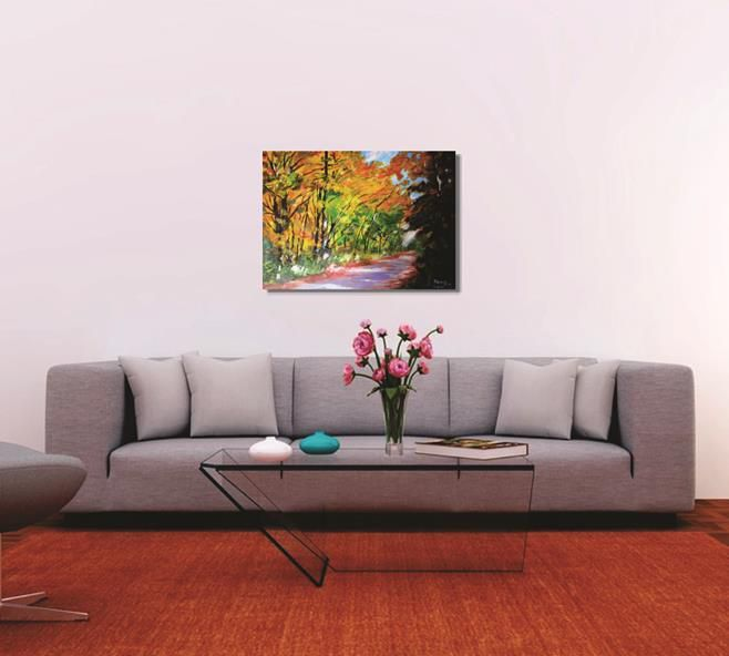 Pintura manual em óleo - Caminho na floresta - 61 x 85 cm
