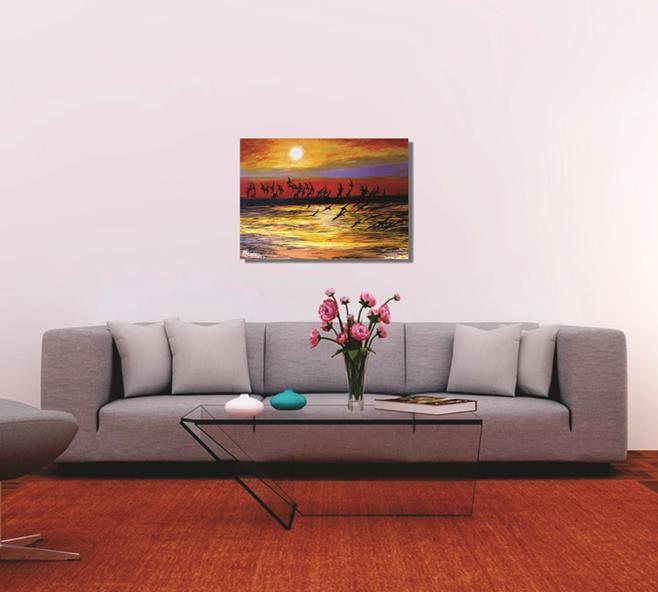 Pintura de quadro decorativo em óleo - Revoada 61 x 85 cm