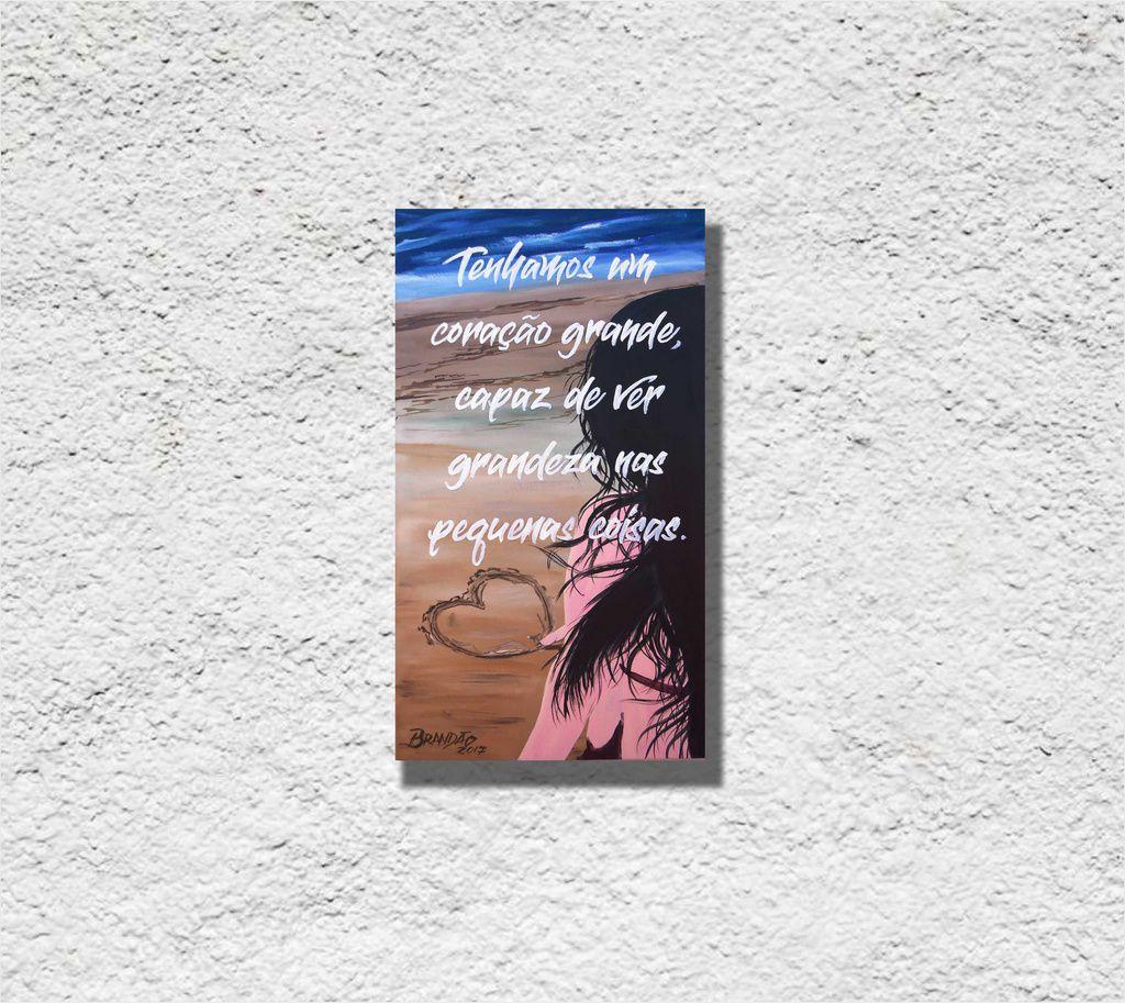 Quadro com frase decorativo para parede de 34 x 61 cm