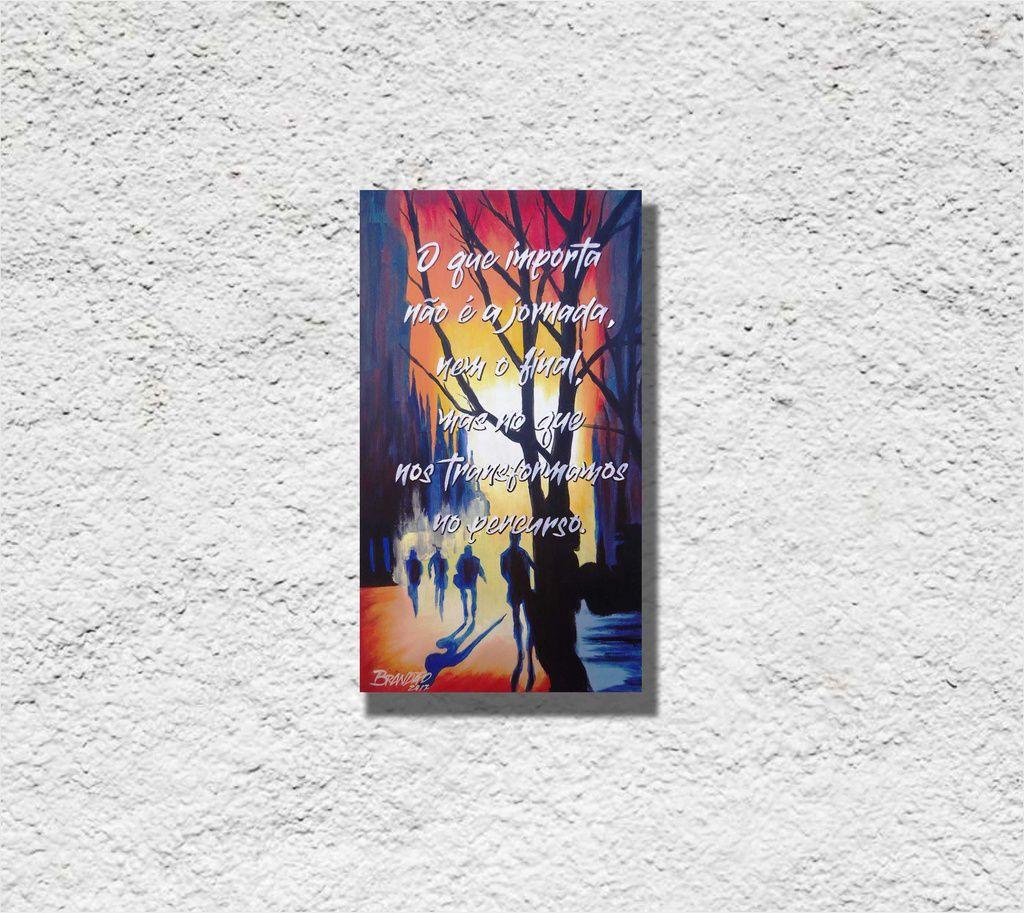 Quadro com frase decorativo para parede em óleo