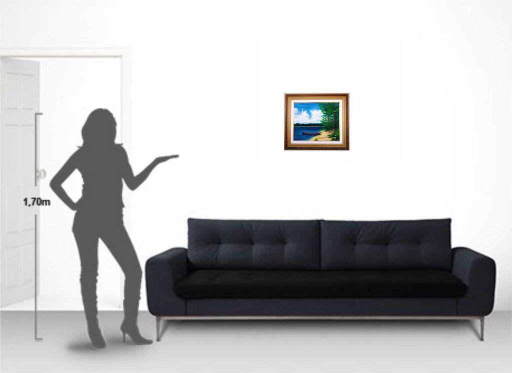 Quadro com pintura em óleo com moldura de 48 x 57 cm