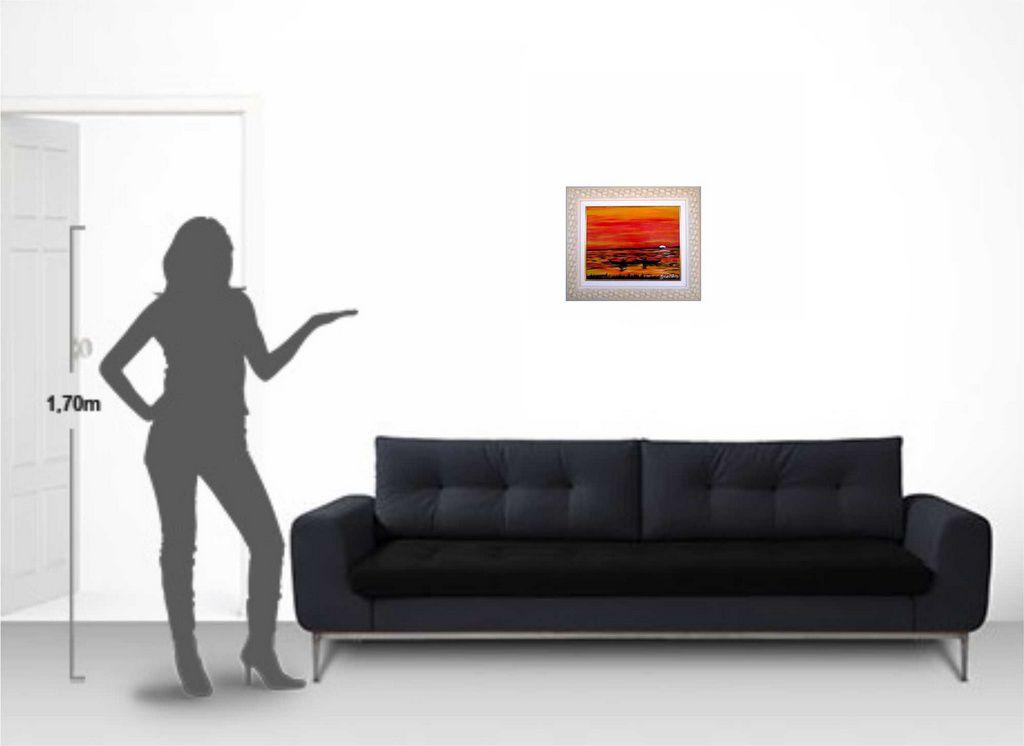 Quadro com pintura em óleo  48 x 57 cm na moldura
