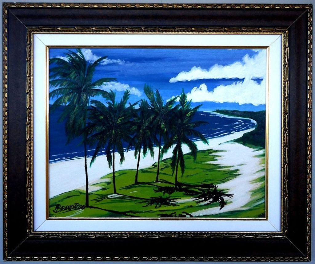 Quadro com pintura decorativa em óleo 48 x 57 cm