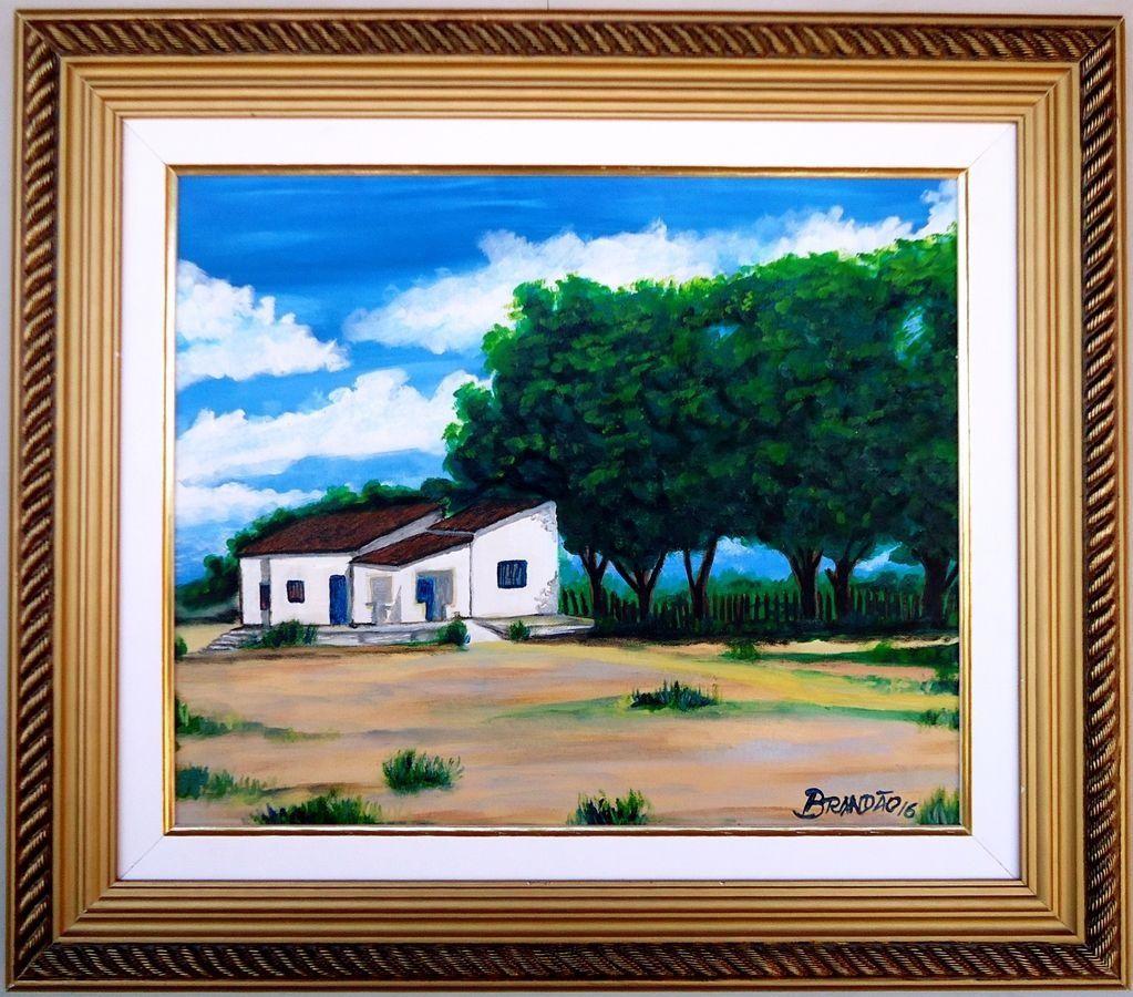 Quadro com pintura em óleo medindo 48 x 57 cm