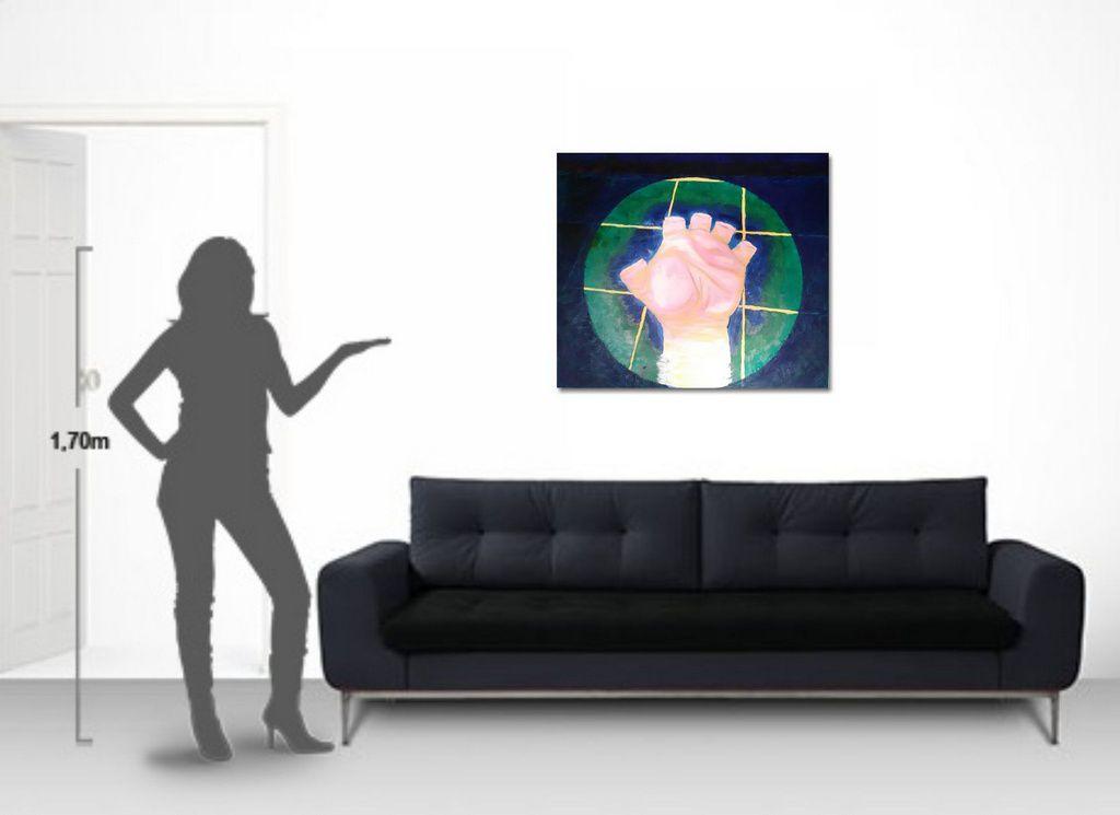 Quadro crítico figurativo surreal pintado a mão 79 x 91 cm
