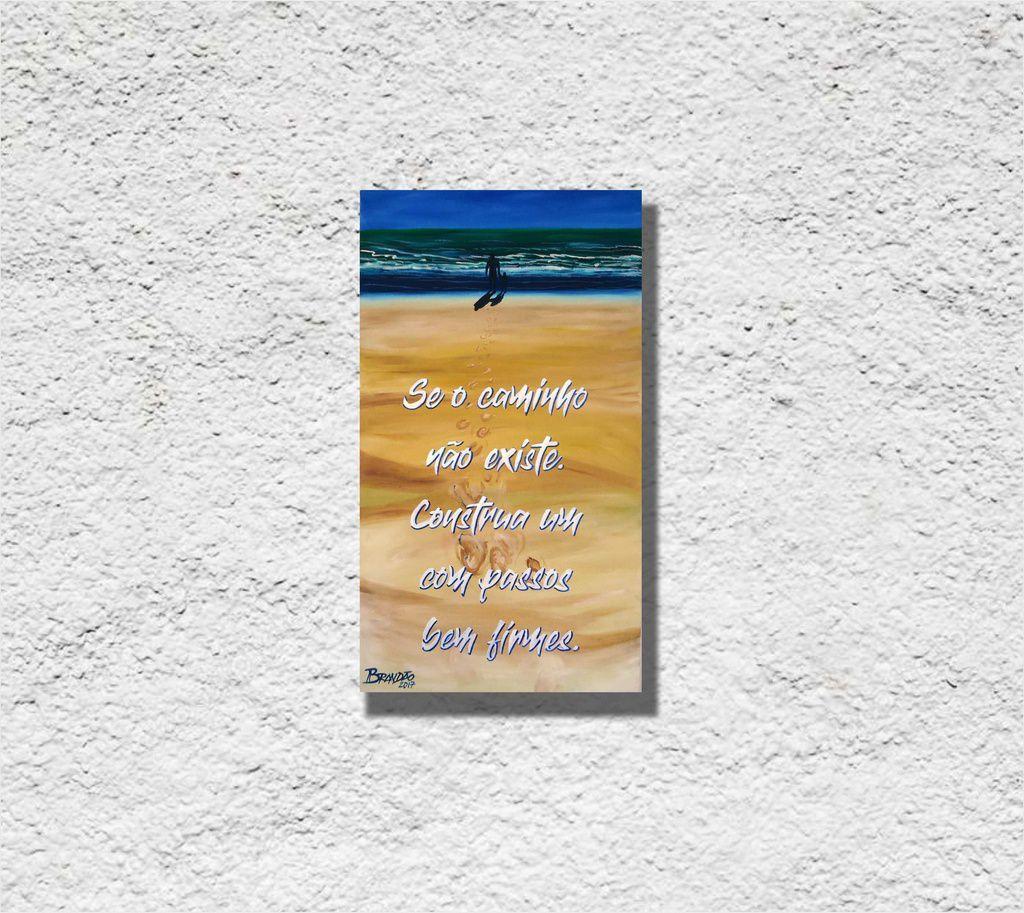 Quadro de 34 x 61 cm decorativo com frase para parede