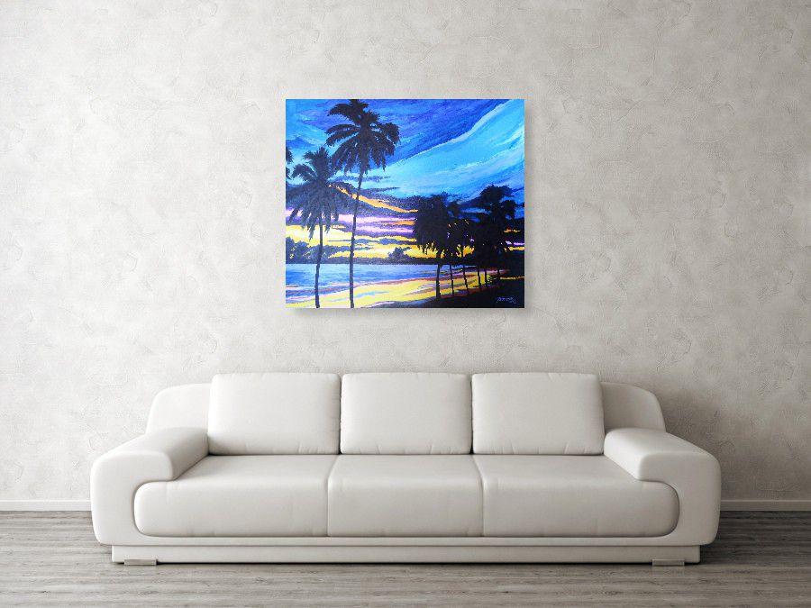 Quadro de paisagem pintado a mão para parede da sala ou escritório