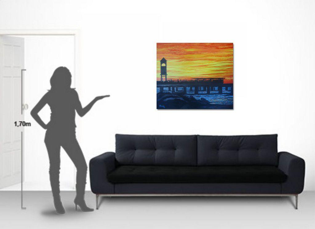 Quadro de parede pintado a mão com paisagem figurativa