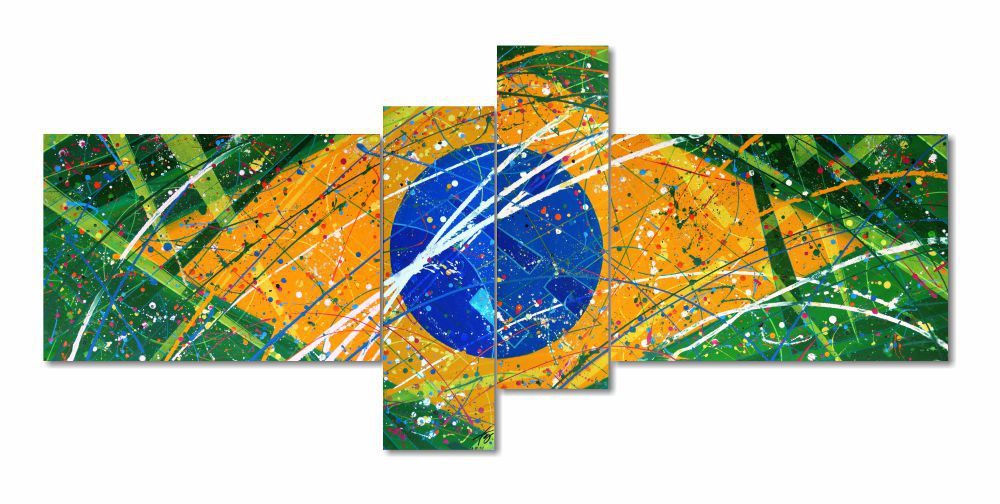 Quadro decorativo bandeira nacional abstrato com 4 peças verde amarelo azul branco