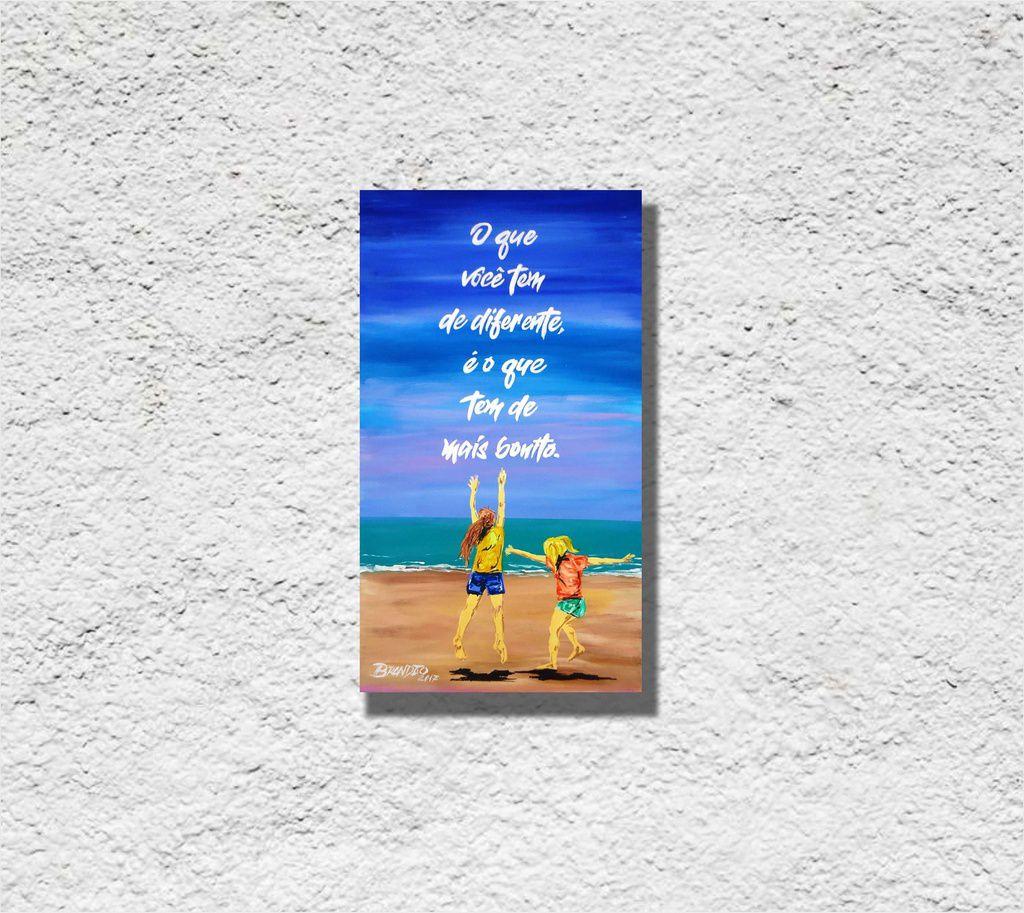 Quadro decorativo com frase motivacional, med. 43 x 61 cm