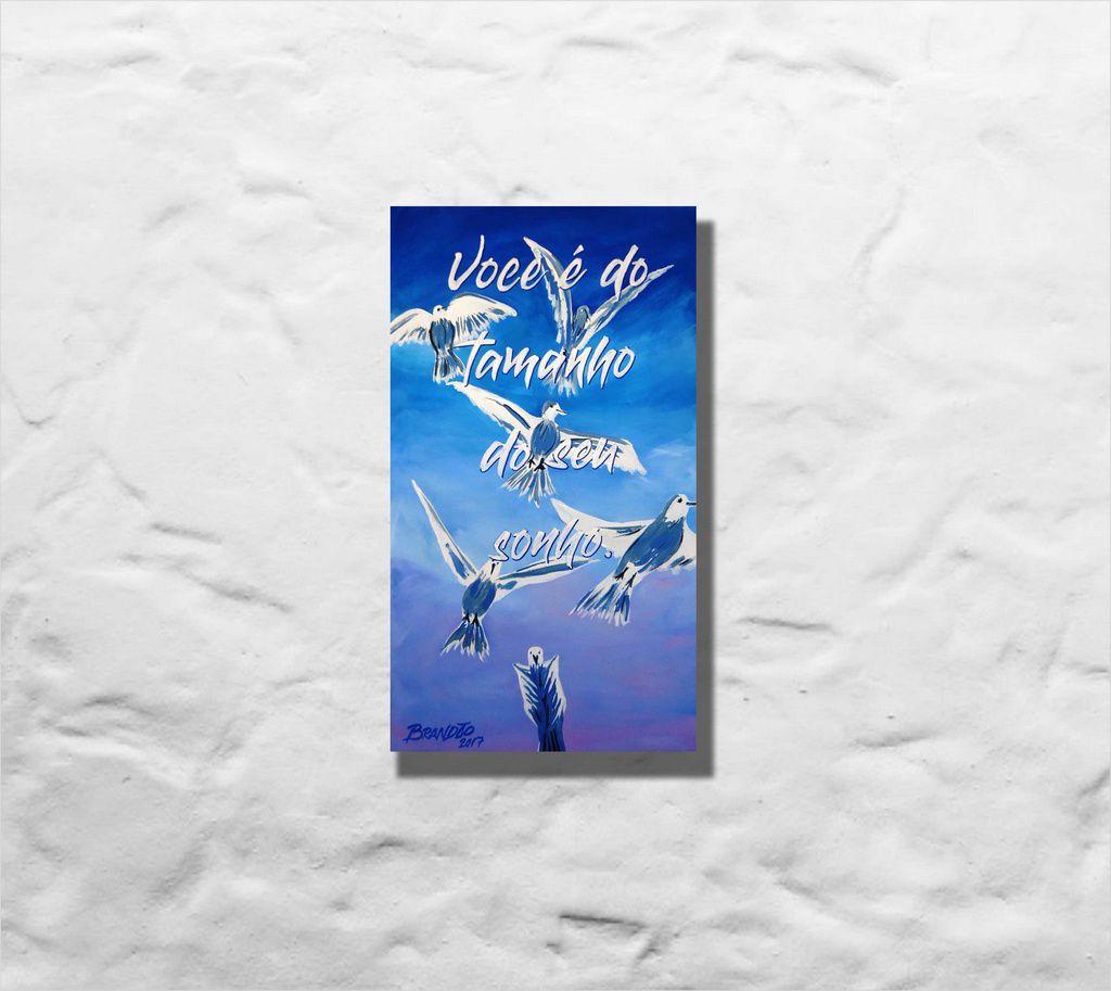 Quadro decorativo com pensamento motivacional, med. 34 x 61 cm