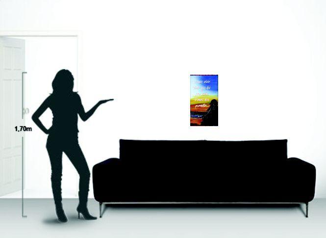 Quadro decorativo para parede com frase em óleo de 34 x 61 cm