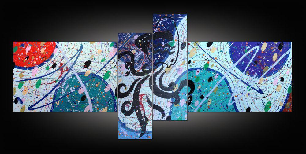 Quadro decorativo signo de aquário abstrato com 4 peças azul verde celeste