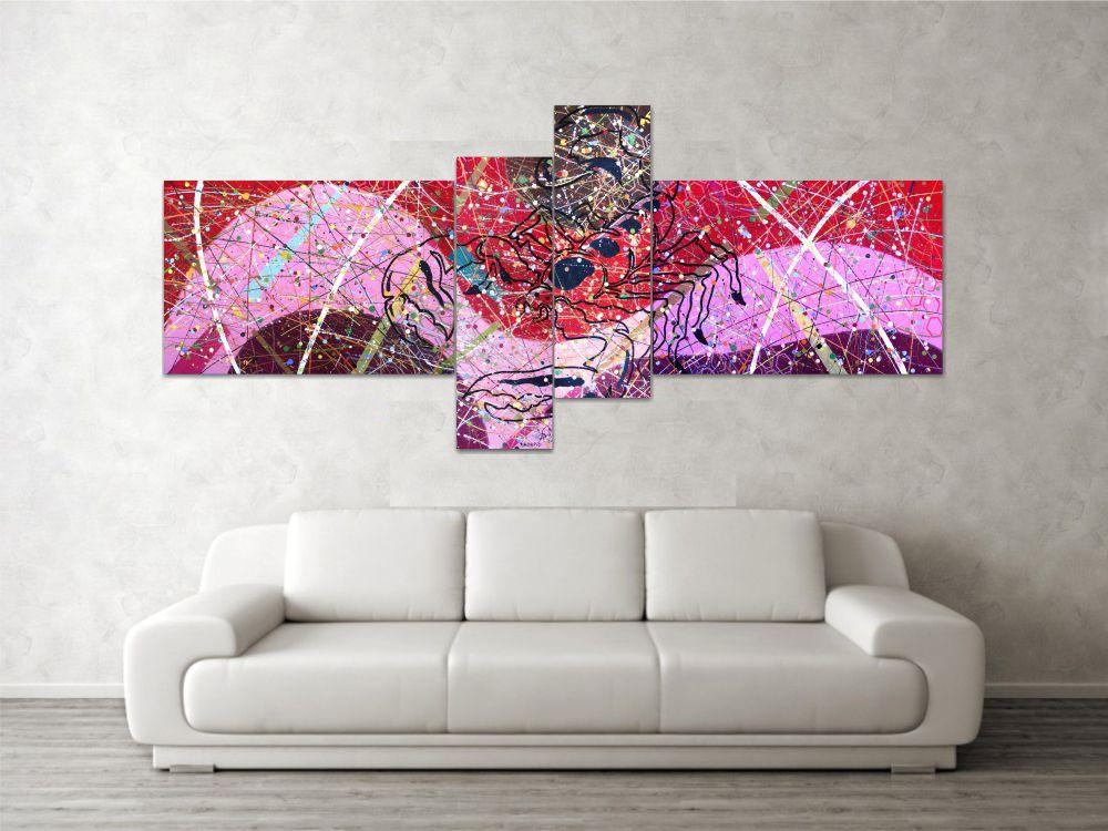 Quadro decorativo signo de escorpião abstrato com 4 peças vermelho bege rosa marrom