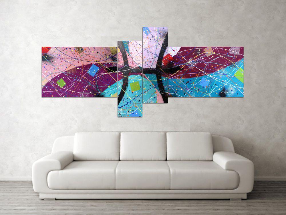 Quadro decorativo signo de peixes abstrato 4 peças verde azul rosa vinho