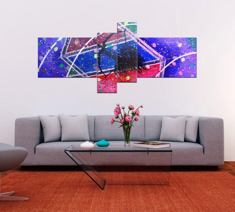 Quadro decorativo signo de sagitario abstrato com 4 peças azul vermelho roxo