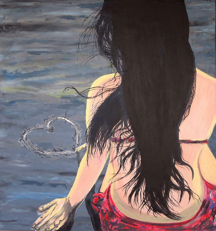 Quadro Garota na praia, 85 x 80 cm - Óleo