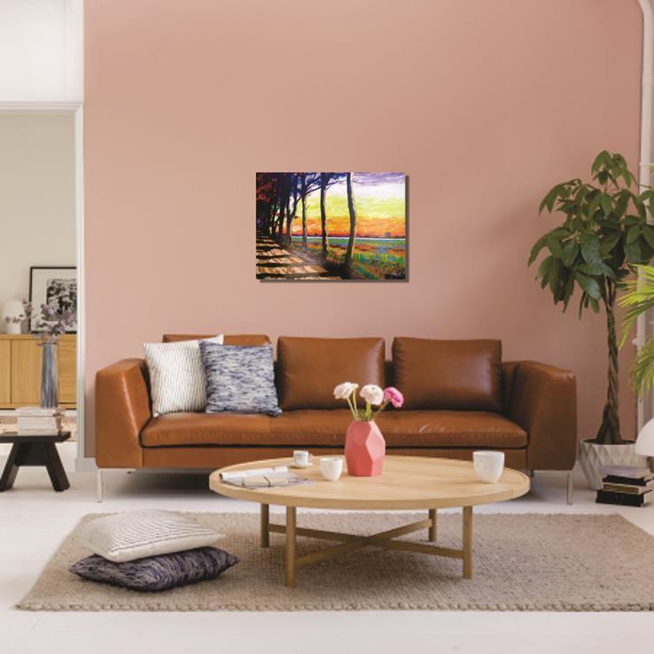 Quadro acrílico espatulado 61 x 85 cm multicolorido