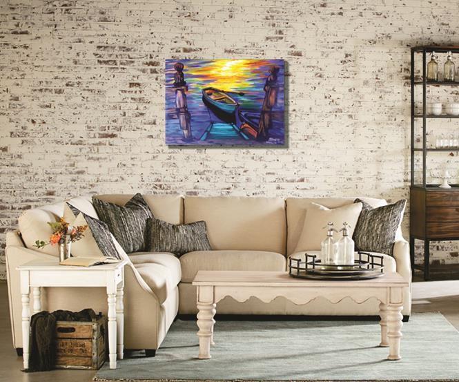 Quadro decorativo pintado a mão medindo 61 x 85 cm
