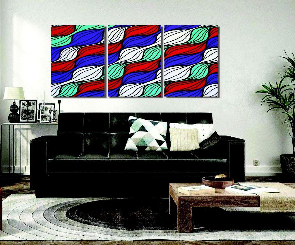 Quadro painel abstrato triplo em acrílico para sala pintado a mão