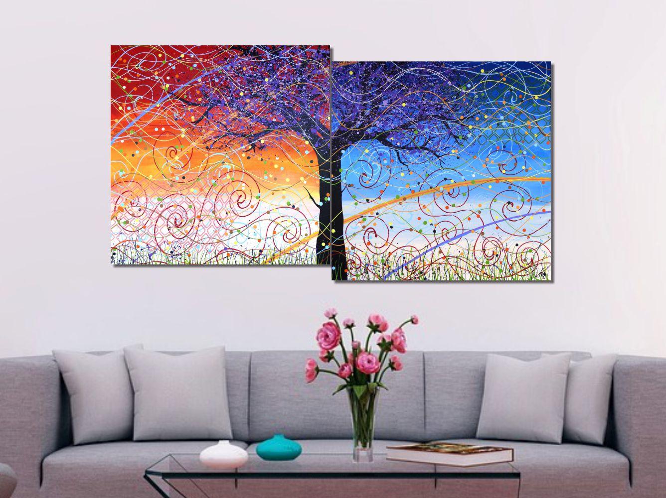 Quadro Painel Decorativo Abstrato Arvore e Brisa 73 x 136 cm