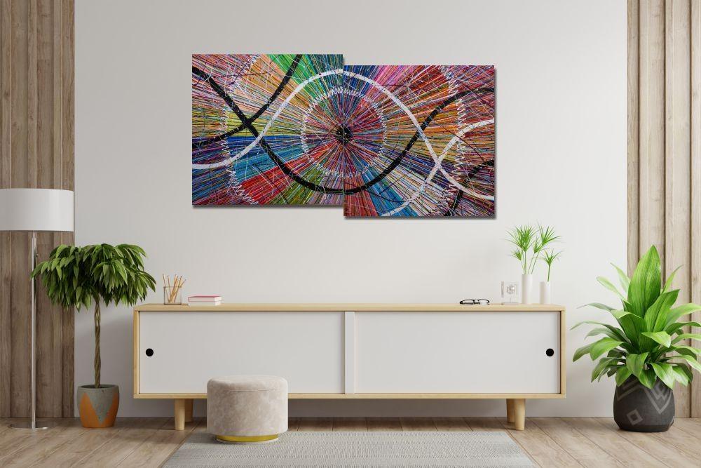 Quadro Painel Decorativo com 2 quadros abstratos Eucentrismo