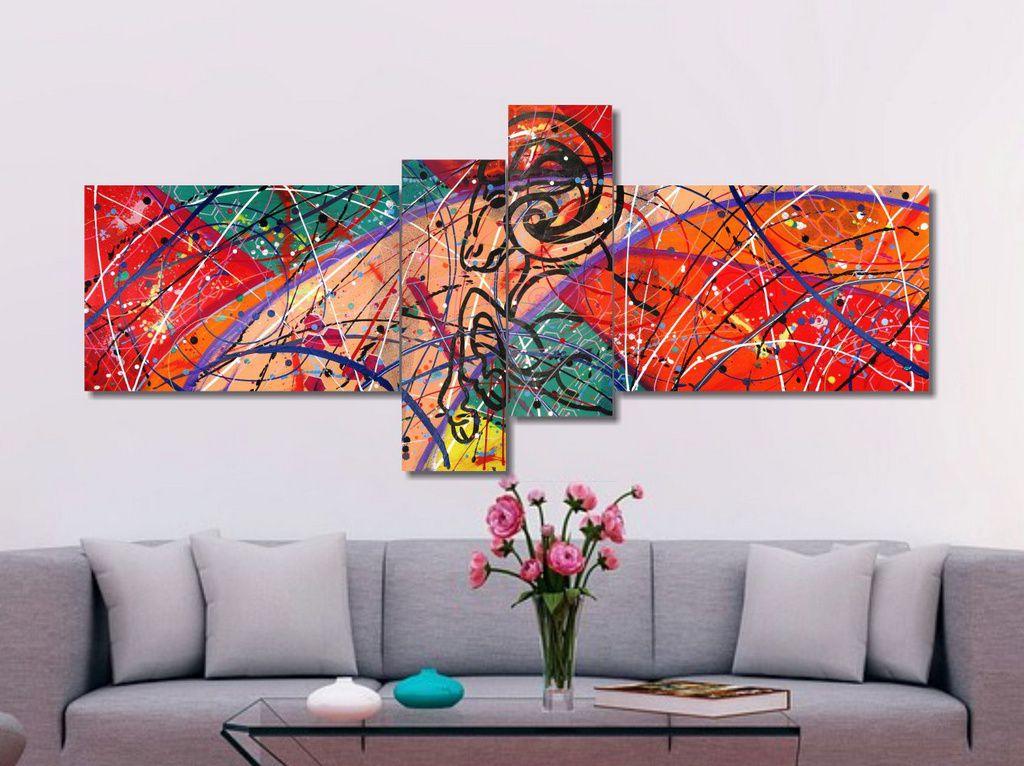 Quadro painel decorativo com aries abstrato 4 peças azul salmão verde vermelho rosa