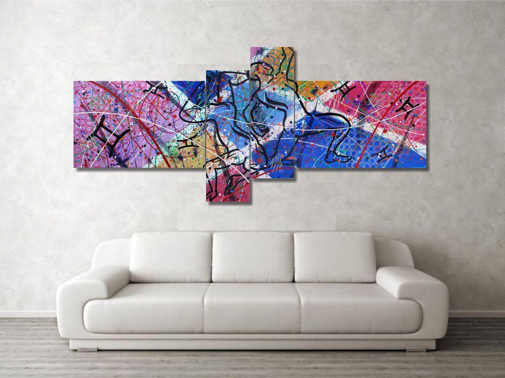 Quadro painel decorativo com gemeos abstrato 4 peças azul amarelo rosa branco