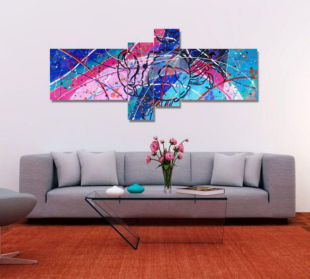 Quadro painel decorativo signo de câncer abstrato 4 peças azul rosa branco