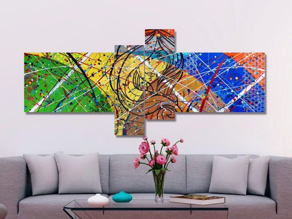 Quadro painel decorativo signo de virgem abstrato 4 peças amarelo azul verde laranja