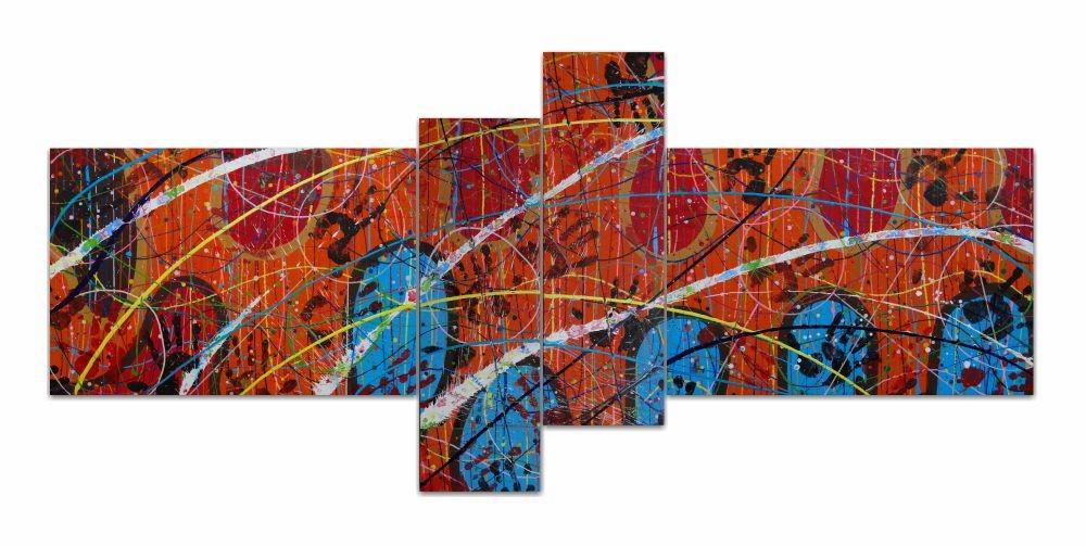 Quadro painel Malpuraj feraj manoj com 4 peças multcolorido