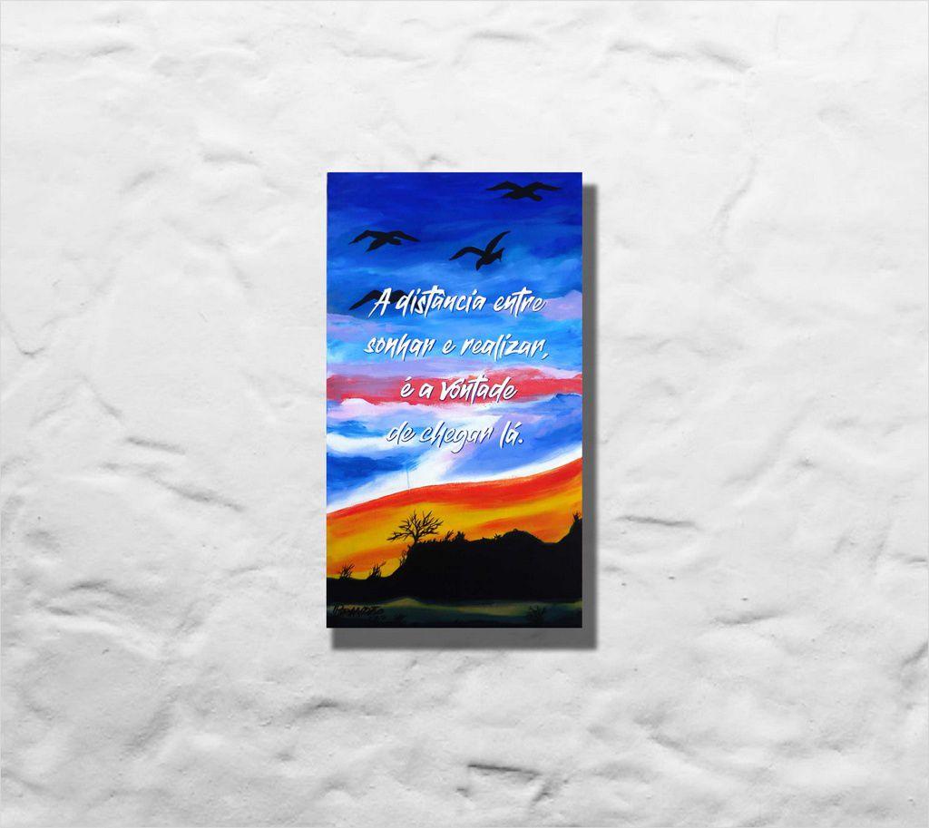 Quadro pintado a mão, com frase 34 x 61 cm