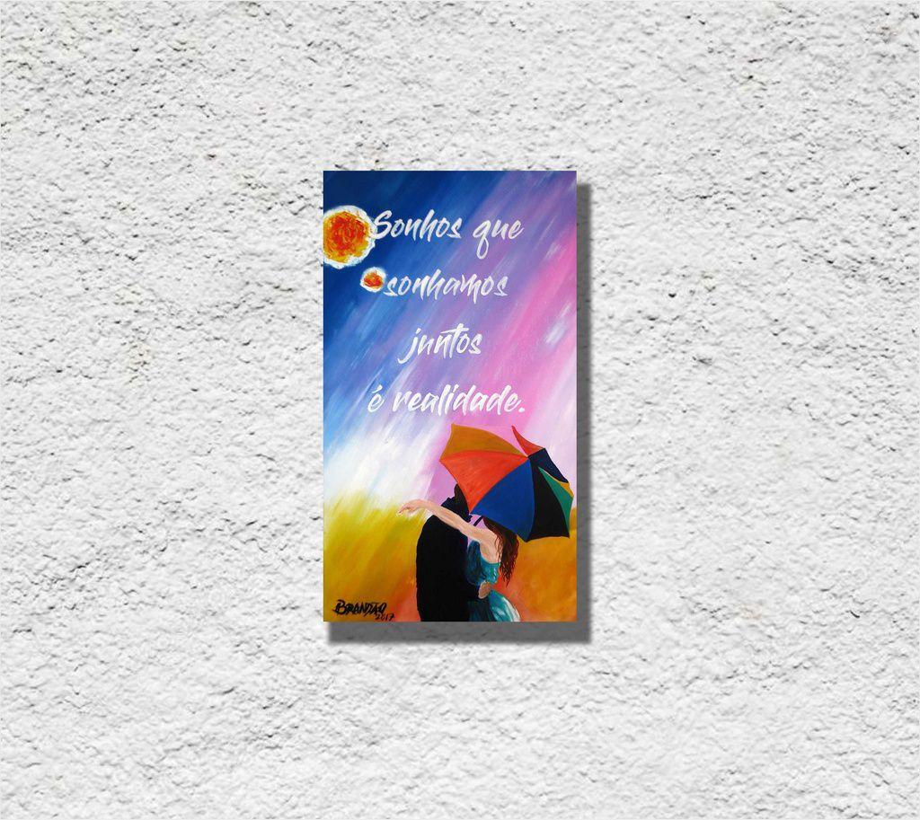 Quadro romântico pintado a mão, medindo 34 x 61 cm