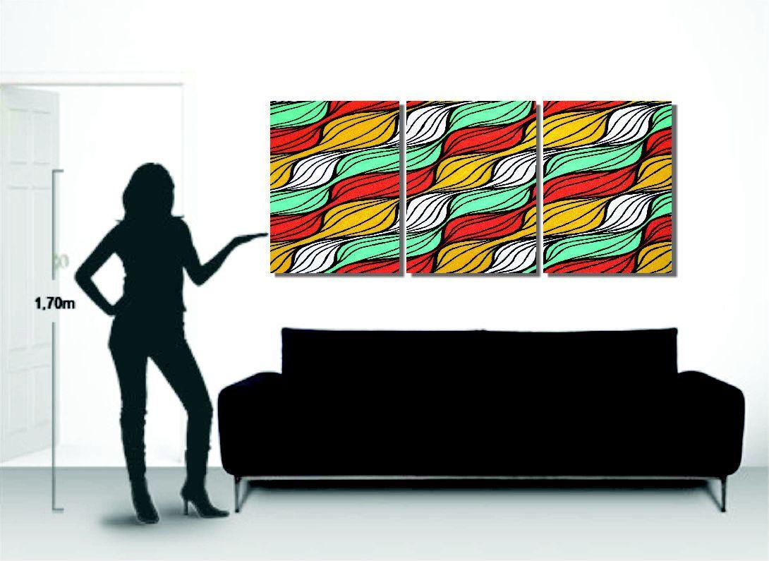 Quadro triplo painel abstrato para sala de estar pintado a mão
