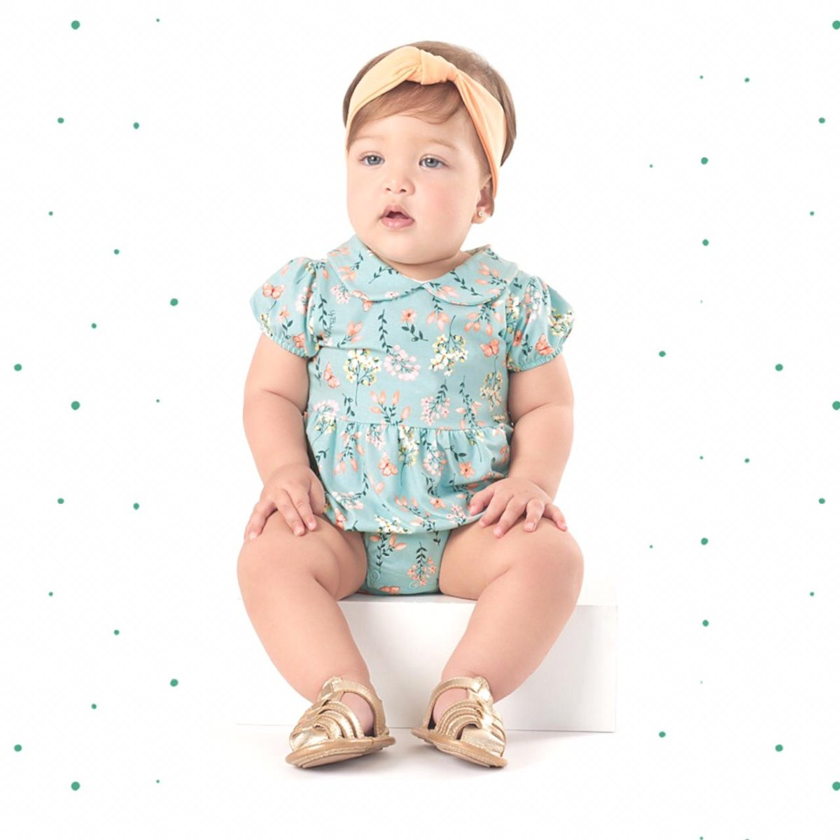 Banho de Sol Romper Bebê Menina Up Baby em Cotton Verde