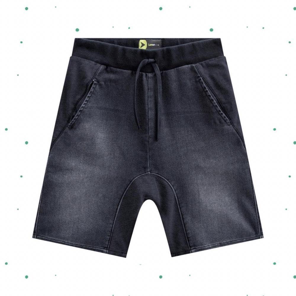 Bermuda Teen Masculina Lemon em Malha Jeans